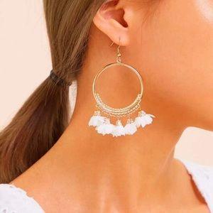 Last pair! Anthro white floral tassel hoops